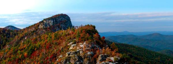 Fall color is served on Table Rock near the Linville Gorge, in this photo taken last week. While wind and rain brought down many leaves over the weekend, experts are happy to report there's a surprising amount of trees that have held on to their color, including many in the Linville Gorge. Photo by Skip Sickler | Grandfather Mountain Stewardship Foundation