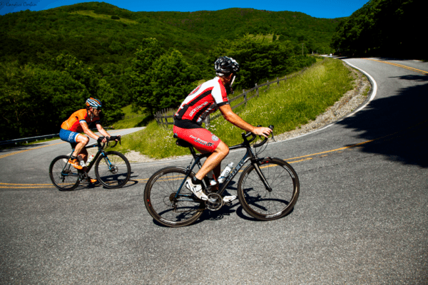 Cyclists from Mooresville, North Carolina ride up to Snake Mountain as they train for Blood Sweat and Gears. Candice Corbin Photography.