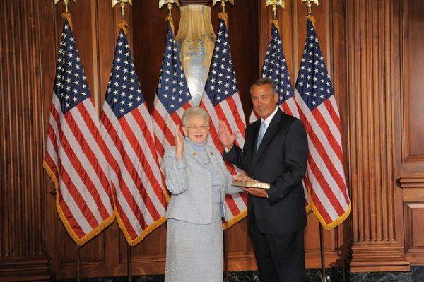 U.S. Virginia Foxx's swearing-in with Speaker John Boehner on Tuesday.