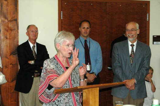 Boone Mayor Loretta Clawson speaks at the ribbon cutting event. Those four fingers represent the four months before she retires from the mayor's post. Photo by Jesse Wood