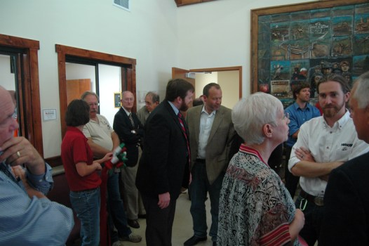 The crowd before the ribbon cutting waits in the lobby of the new AppalCART facility. Photo by Jesse Wood