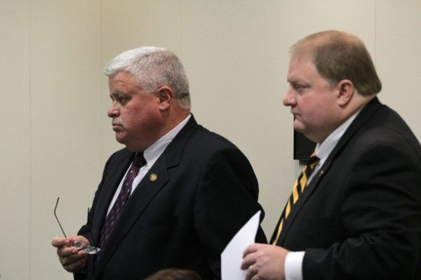 Sen. Tom Apodaca, R-Henderson, and Rep. Josh Jordan, R-Ashe, appear together at a recent House committee hearing in Raleigh. Tuesday, House and Senate leaders announced that they had reached a compromise state spending target. Kirk Ross/Carolina Public Press