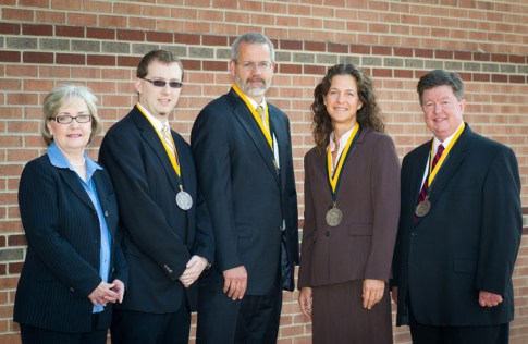 Donna Lindabury, left, Chris Taylor, Ben Powell, Rachel S. Shinnar and Dana Clark have been honored by the Walker College of Business at Appalachian State University. Lindabury received the staff excellence award, Taylor was recognized for his contributions as a non-tenure track faculty member, Powell received the teaching award, Shinnar was honored for her research and Clark was recognized for his service. Photo by University Photographer Marie Freeman