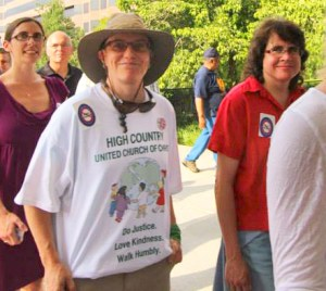 """Residents of the High Country, Catherine Hopkins and Beth Davison before being arrested on June 3 during the """"Moral Monday"""" demonstrations in Raleigh. Photo by Steve Dear"""