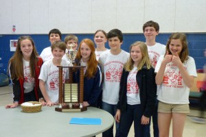 The middle school Battle of the Books winners from Valle Crucis include (front row from left) Morgan Hoyt, Mac Waters, Emma Carder, William Nelsen, Laiken Johnson, and Finley Collins.  In the back row (from left) are Max Hagaman, Sammy Osmond, Bailey Shuford, and Jeremy McAdams.
