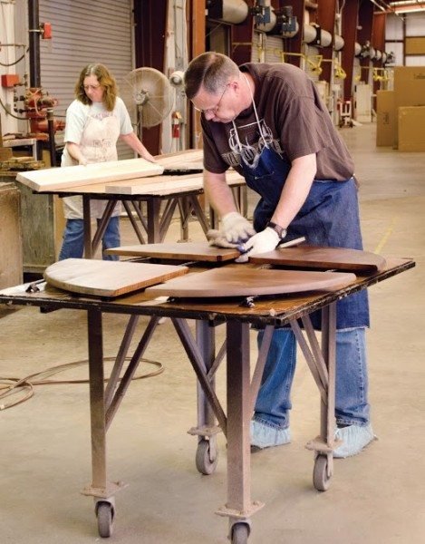Doing the wood finishing of it's shelves and table tops in-house enables Charleston Forge to maintain it's stringent quality control standards. (Photo by Philip Holman/Charleston Forge).