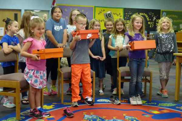 Bethel Elementary first graders display some of their new shoes