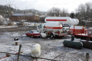 Flood waters resulted in propane leaks and floating propane tanks at Suburban Propane. Photo by Ken Ketchie