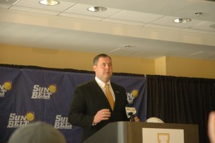 Cobb at the press conference announcing ASU's move to the Sun Belt. Photo by Jesse Wood