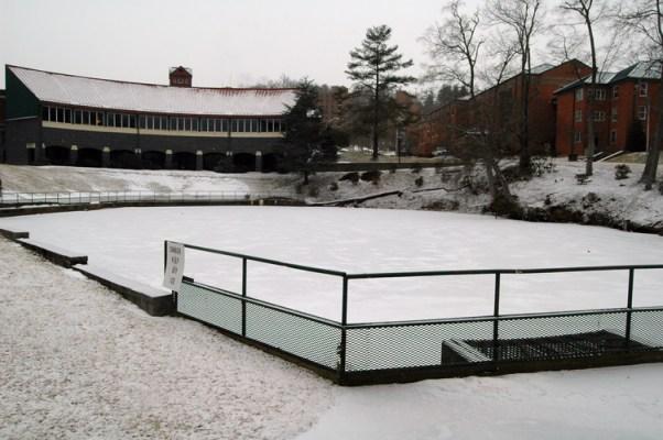Duck Pond is frozen.