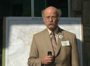 Lou Zeller, executive director of BREDL, speaks during a press conference outside of the Watauga County Administration Building on King Street before the public hearing.
