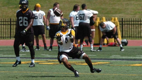 Redshirt freshman Jaylan Barbour waits to haul in a punt during the second session of Tuesday's season-opening practice at Kidd Brewer Stadium.Courtesy: DCMayo (Appalachian, '83