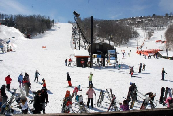 It is a beautiful day at Appalachian Ski Mtn. on Friday. Hopefully March will feature sunshine and snow coverage for the last few weeks of the season. Photo by Ken Ketchie