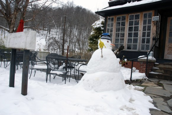 Looks like this snowman is ready for someone outside dining at Proper. How about you? Photo by Ken Ketchie