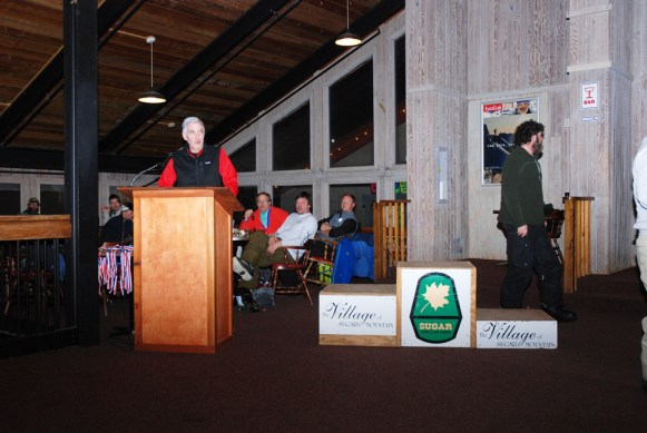 Speech. Speech. Bill Leonard, owner of Ski Country Sports, gave out many thanks on the last night of racing.