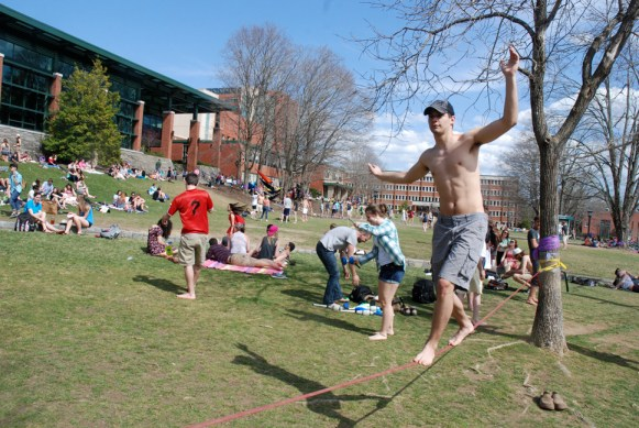 Slacklining is an old college pastime.