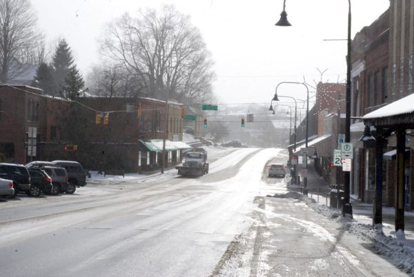Downtown Boone looked like a ghost town early on Thursday. Photo by Ken Ketchie