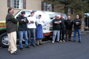 """The eight competitors pose in front of the """"Got To Be N.C."""" mobile. Photos by Ken Ketchie"""
