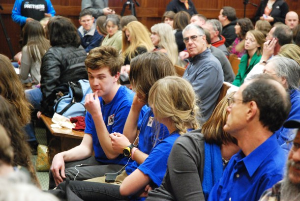 """Students wore blue """"Right to Read"""" shirts in support of Whitaker and the novel."""