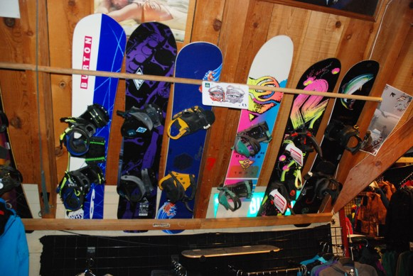 These legendary snowboards include the Sims Switchblade, the K2 Gyrator and the Burton Brushie, well recognized collectors pieces on display at the shop