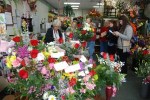 Bouquet Florist is blossoming with business today, Valentine's Day. Photo by Ken Ketchie