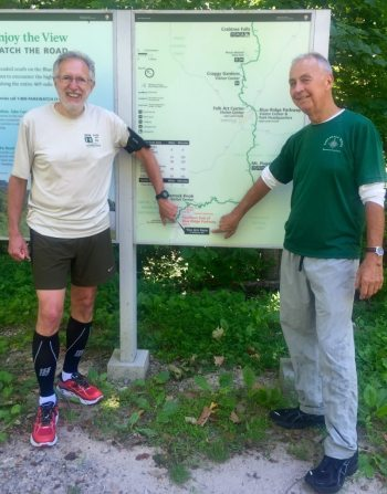 Ray and Don Lister, the only other person known to run across the entire Blue Ridge Parkway, at the Southern Entrance of the Blue Ridge Parkway, Milepost 469