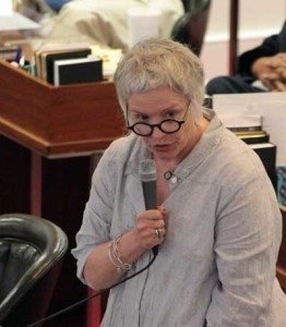 Rep. Susan Fisher, D-Buncombe, speaks during the debate over legislation that would allow magistrates in North Carolina to opt out of performing same-sex marriages. Kirk Ross/Carolina Public Press
