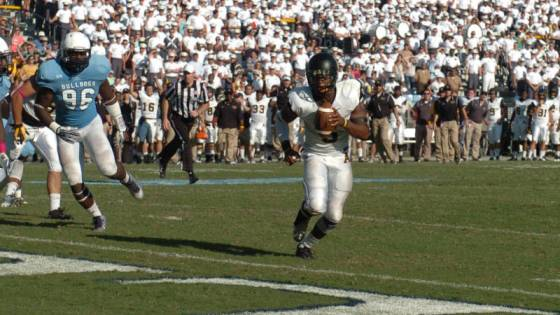 Kameron Bryant's two-yard touchdown run with 20 seconds to go in regulation capped a 79-yard, 53-second drive that sent Saturday's game at The Citadel to overtime. Photo courtesy Appalachian State Athletics/ Dave Mayo (Appalachian, 1983)