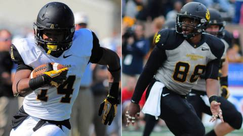 Marcus Cox (left) and John Law (right) are among 20 players on the official watch list for the 2013 Jerry Rice Award, which is given to the nation's top FCS freshman. Photo courtesy of App State Athletics/Keith Cline and Dave Mayo