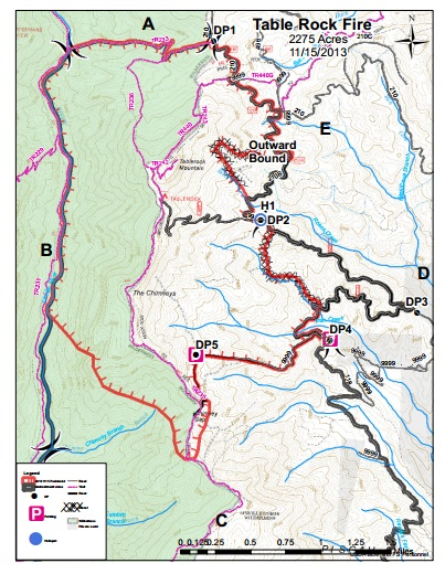 Map of 2,700-acre Table Rock fire in the Linville Gorge. Courtesy U.S. Forest Service