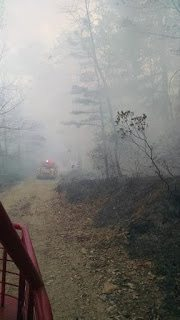 Back burning along Dugger Fire Tower Rd New Jersey Fire Service Photo: Bill Hamilton, Nov 23