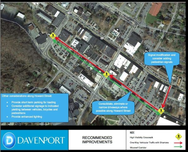 This image notes the one-way traffic in downtown Boone.