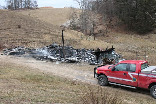 The remnants of a structure fire on Bethel Road that occurred on Friday.