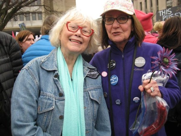 Kaye Barley stands with her friend, Pat Taylor. Both attended the Women's March on Washington this past Saturday.