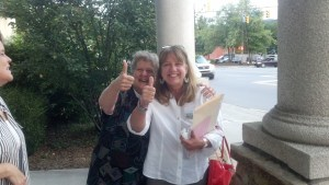 Local political activists Pam Williamson and Deborah Greene are rarely on the same side of any issue. However, they both opposed the county spending taxpayer funds on 200 acres. Photo by Jesse Wood