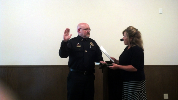 Blowing Rock's new police chief was sworn in on Tuesday night. Photo by Jesse Wood