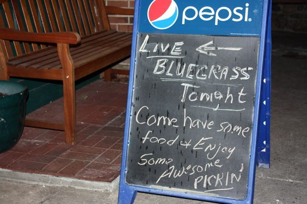 The sidewalk sign says Bluegrass but that's not all that's heard at the Murphy's Wednesday night jams