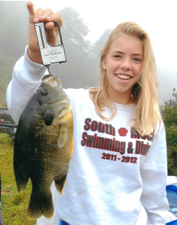 13-year-old Victoria Navaroli of Charlotte recently caught this state record green sunfish from a private pond in Creston. Photo courtesy N.C. Wildlife Commission