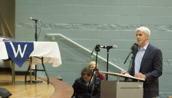 Chasteen speaks at the public hearing in favor of the book challenge.