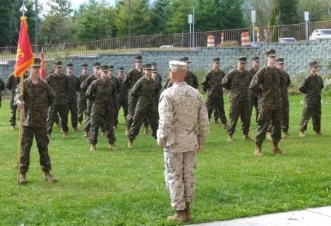 Master Sergeant David Hernandez, USMC, (Ret),  faces the cadets. Hernandez is one of two instructors in the JROTC program.