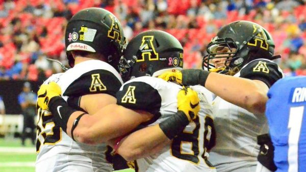Levi Duffield (center) and the Mountaineers look to extend their Sun Belt Conference winning streak to eight games on Saturday when they make their first-ever visit to UL Monroe. Kickoff is set for 7 p.m. ET and can be seen live on ESPN3 and ESPN College Extra. Courtesy: Allyson Lamb / App State Athletics