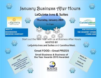 Here's the flyer for the After Hours event at LaQuinta from 5-7 p.m. on Thursday, Jan 28.