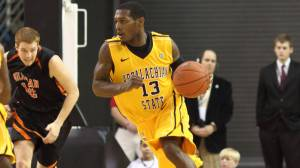 Jamaal Trice scored seven points and grabbed seven rebounds in Appalachian's 71-51 win over Milligan on Sunday. Photo by Bill Sheffield and courtesy of Appalachian Sports Information
