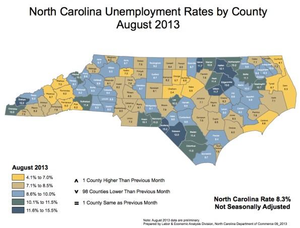 NC Unemployment Map