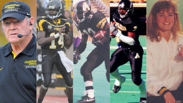 2015 Appalachian State Athletics Hall of Fame Inductees (L to R): Jerry Moore, Armanti Edwards, Chip Hooks, Daniel Wilcox and Leigh Cooper Wallace Courtesy: Appalachian State Athletics