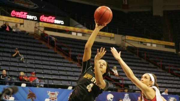Bria Huffman scored 12 points in the Mountaineers' loss to Arkansas State on Wednesday. Photo Courtesy Sun Belt Conference