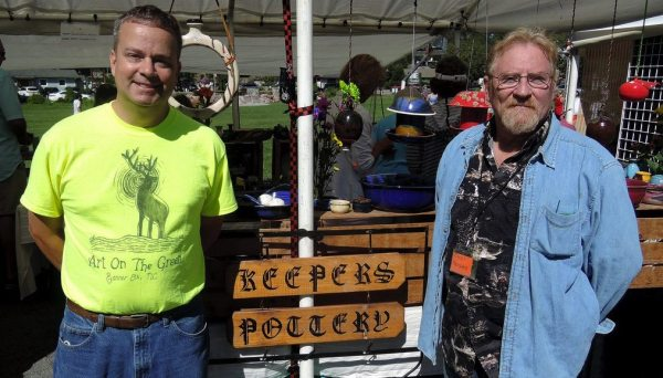 Cecil Keepers (left) and Robert Tufts enjoyed sales and sunshine at Art on the Greene. Keepers Pottery is based in Covington, GA, but came to Banner Elk on September 3 for the event to support the Historic Banner Elk School.