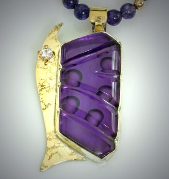 Ran Armstrong - Carved Amethyst Pedant & 14K Gold