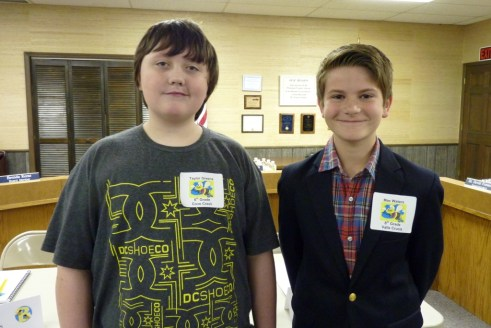 At right is WCS Spelling Bee winner, with runner up Taylor Greene at left.