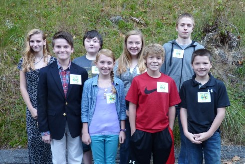 The 2013-14 Spelling Bee Champions for each school include (from left)  Nevada Thomas, Mac Waters, Taylor Greene, Rebecca Anderson,  Julia Parsons, Christian Colby, Isaac Maling, and Bailey Younce.